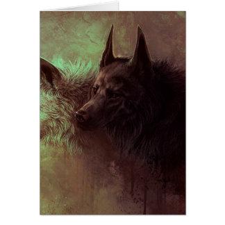 Cartão dois lobos - lobo da pintura