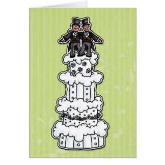 Cartão Dois noivos no bolo de casamento