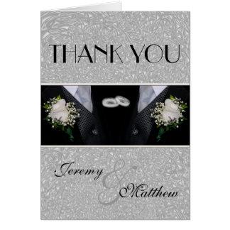 Cartão Dois noivos que Wedding o obrigado dos Tuxes você