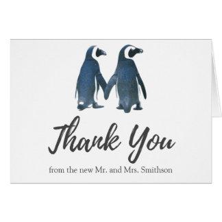 Cartão Dois obrigado romântico bonito do casamento dos