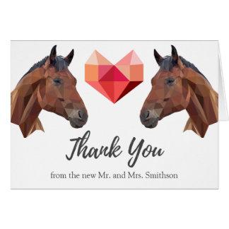 Cartão Dois obrigado romântico feito sob encomenda do