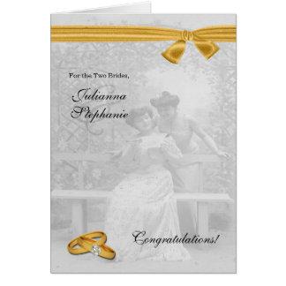 Cartão Dois parabéns alegres do casamento das noivas