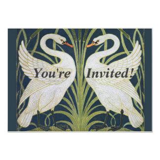 Cartão Dois pássaros de Nouveau do vintage das cisnes