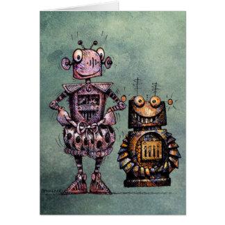 Cartão Dois robôs engraçados!