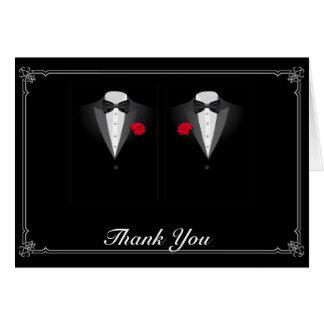 Cartão Dois smoking com o obrigado alegre do casamento da
