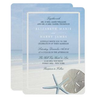 Cartão Dólar de areia e casamento de praia da estrela do