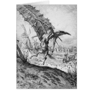 Cartão Don Quixote e os moinhos de vento