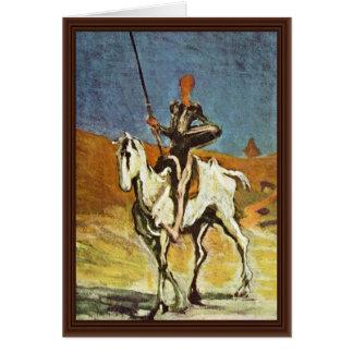 Cartão Don Quixote e Sancho Panza por Daumier Honoré