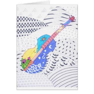 Cartão doodle da fusão das cores e preto e branco