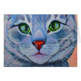 Cartão Dora azul, gato de gato malhado cinzento