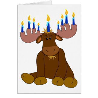 Cartão dos alces de Hanukkah Menorah