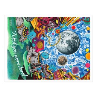 Cartão dos aliens no espaço