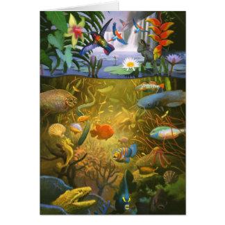 Cartão dos animais selvagens da floresta húmida
