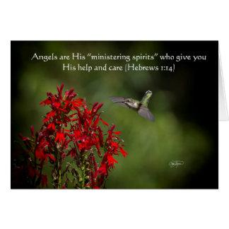 Cartão dos anjos do colibri com verso da bíblia
