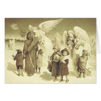 Cartão dos anjos e das crianças do Natal