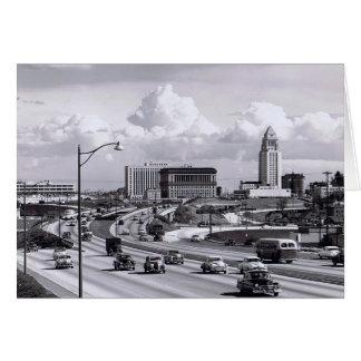 Cartão dos anos 50 da autoestrada de Los Angeles