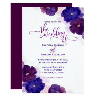 Cartão Dos azuis marinhos roxos da ameixa da aguarela