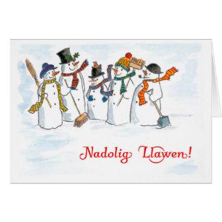 Cartão dos bonecos de neve do Natal do cumprimento
