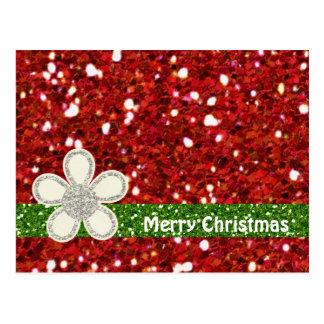 Cartão dos brilhos do vermelho do Natal Cartão Postal