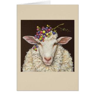 Cartão dos carneiros do vinhedo