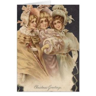 Cartão dos Carolers do Natal da era do Victorian