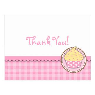 Cartão dos cartões de agradecimentos do cupcake cartão postal