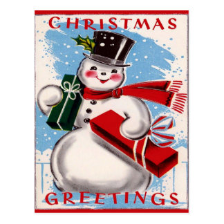 Cartão dos cartões de natal do boneco de neve do