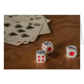 Cartão dos cartões e dos dados de jogo