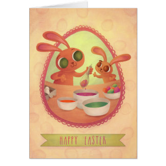 Cartão dos coelhinhos da Páscoa
