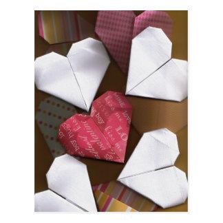 Cartão dos corações de Origami