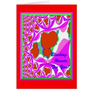 Cartão dos corações de sangramento (vazio para