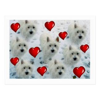 Cartão dos corações de Westie thankyou,