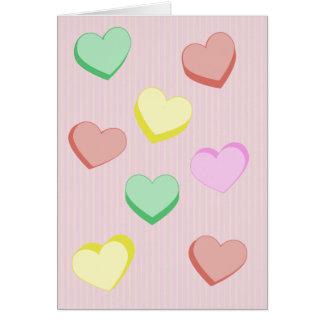 Cartão dos corações do açúcar