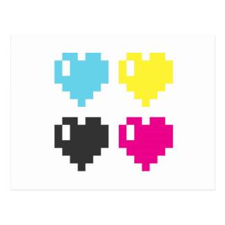 Cartão dos corações do pixel de CMYK