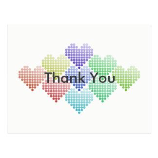 Cartão dos corações do ponto do arco-íris