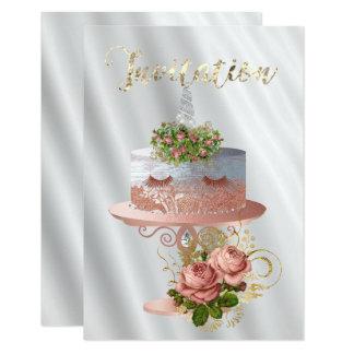 Cartão Dos cristais cor-de-rosa do ouro do unicórnio do