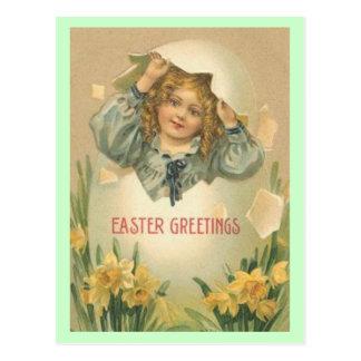 Cartão dos cumprimentos da páscoa do vintage cartão postal