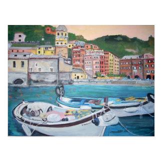Cartão dos cumprimentos do porto de Vernazza