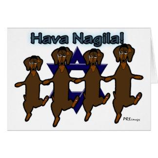 Cartão dos Dachsunds de Hava Nagila