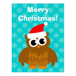 Cartão dos desenhos animados da coruja do Natal Cartão Postal
