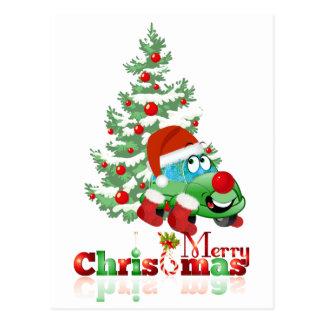 Cartão dos desenhos animados do carro do Natal Cartão Postal