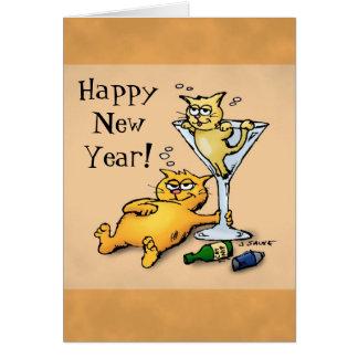 Cartão dos desenhos animados do feliz ano novo dos