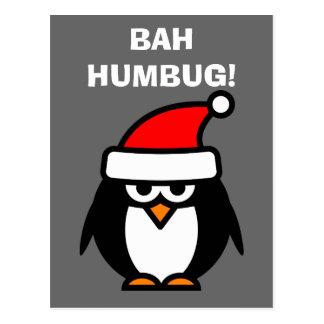 Cartão dos desenhos animados do pinguim do Natal