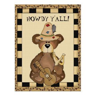 Cartão dos desenhos animados do urso do Hillbilly