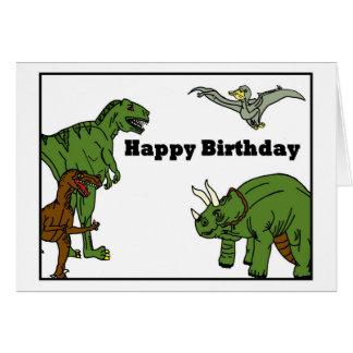 Cartão dos dinossauros do feliz aniversario