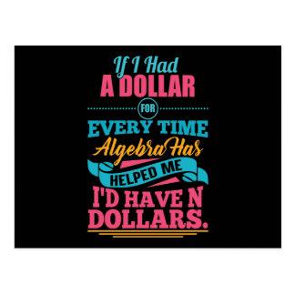 Cartão dos dólares da chalaça N da álgebra do