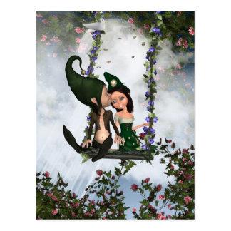 Cartão dos duendes do amor, par bonito de duendes