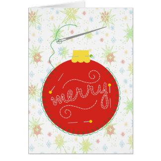 cartão dos enfeites de natal da linha da agulha