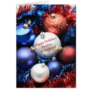 Cartão dos enfeites de natal do irmão & do marido