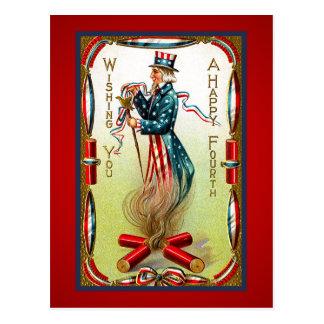 Cartão dos EUA do tio Sam julho de quarto do